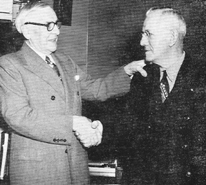 Lockport Felt Company owner, Mr. William Lee and one of the companies first employees, Art Schoelles, circa 1954.